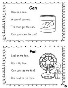 reading Word Family Short A Fluency Reading Comprehension Worksheets, Phonics Worksheets, Phonics Activities, Reading Passages, Reading Activities, Kindergarten Worksheets, Phonics Reading, Teaching Phonics, Kindergarten Reading