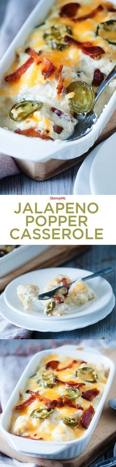 If you're a fan of the jalapeno popper, you will love this Jalapeno Popper Casserole. This recipe is truly out of this world! #skinnyms #cleaneating