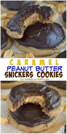 Caramel cookies with a hidden peanut butter Snickers bar and chocolate frosting is just what your cookie jar needs.