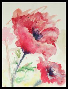 Flower Poppy Nature Original Watercolor by NatureWatercolors