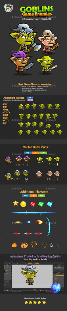 Goblins 2D Game Character Sprites 241  Download Here : https://graphicriver.net/item/goblins-2d-game-character-sprites-241/17166060?ref=iDoodle