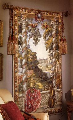 Chateau With Cello Tapestry. h1Chateau With Cello Tapestry_h1Chateau With Cello Tapestry. Created by skilled designers, this beautiful tapestry was jacquard-woven in the mills of Europe, utilizing decades of experience from the worlds finest we.. . See More Wall Tapestries at http://www.ourgreatshop.com/Wall-Tapestries-C1115.aspx