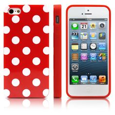 iPhone 5S Case, MagicMobile Ultra Slim Thin Durable Fashion Cute Glossy Cover for iPhone 5 TPU Polka Dot Pattern iPhone 5S Case [Dual Color: Red - White]. The Magic Mobile for Apple iPhone 5 5s Polka Dot Case provides full protection in the back and sides of the phone. Product made with special TPU material which cannot be broken when twisted. Really easy and fast to insert the phone; has perfect holes for the charger, the headphones and the camera. Product is made of high quality keeping...