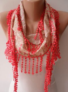 Salmon Scarf with Salmon Trim Edge - Summer Colors - New