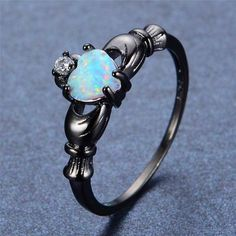 Elegant Heart White Fire Opal Ring