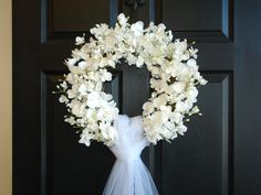 summer wreaths, weddings decor flowers year round wreaths, wreath, elegant wreath, David Austin roses, front door, country french, outdoor and garden WEDDING ORCHID WREATH This listing is for beautiful white orchids wreath. The perfect wreath, front door or wall decor, wedding door decorations. Also a great gift for Wedding, Bridal shower... This arrangements is made with faux orchids and grapevine wreath, with or without crystal brooch, it is finish with tulle veil for a perfect finishing…