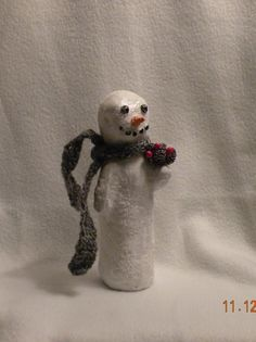 Snowman with grey scarf and pinecones by TBCCreations on Etsy