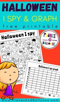 Free Halloween printables for kids - Halloween I spy worksheets free printable for preschool and kindergarten. #halloween #prek #kindergarten #planesandballoons
