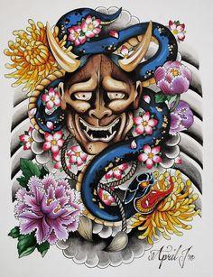 GRIFFE TATTOO: Tattoo Máscara Japonesa Hannya