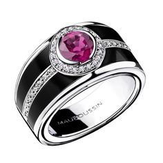 Bonbon Rose ring, by Mauboussin. Pink sapphire, white gold, diamonds and black laquer.