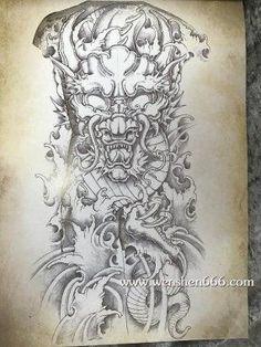 霸气传统通体龙王与水浪纹身手稿