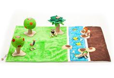 Speelkleed - speelmat voor speelgoed dieren, handgemaakt - Anamalz   olijkenvrolijk.nl