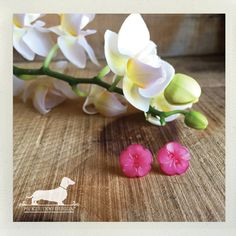 CLEARANCE Pink Blossoms. Flower Post Earrings  by PickleDogDesign