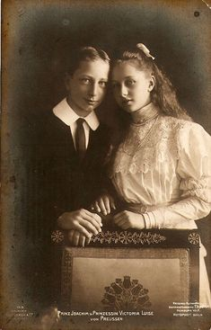 Victoria Luise and Joachim of Prussia -circa 1905 Princess Victoria Luise and her brother Prince Joachim of Prussia. Children of Kaiser Wilhelm II of Germany.