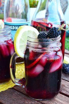 Blackberry Pomegranate Sangria Recipe - Katie's Cucina >> #WorldMarket Camping ideas, Tips, Glamping, Outdoor Entertaining, Outdoor Drink Recipes