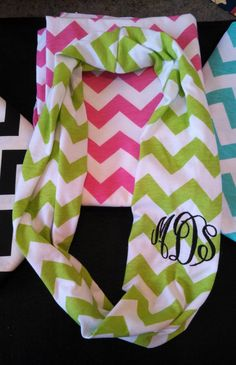 12.00 Chevron Monogrammed Knit Infinity Scarf-Single Loop.