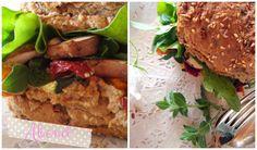 Sieht lecker aus und sooo gesund: friederikes Vollkornbaguette mit geröstetem Gemüse, Pesto und Rucola.