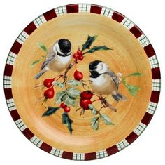 Lenox Winter Greetings Everyday Stoneware Chickadee Salad Plate by Lenox. $34.95. Crafted of hand-painted stoneware. Diameter 8 1/2-Inch. Microwave- and dishwasher-safe. Designed to go from freezer to oven to table. Perched upon a holly tree, a pair of jaunty chickadees brings warmth to winter... and to the Winter Greetings collection. This salad plate can be combined with others in the collection, creating a charming ensemble.