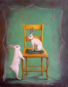 """Come play with me"" original art by Santie Cronje English (Rabbit, yellow chair)"