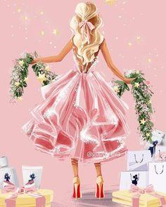 Christmas Fashion, Pink Christmas, Christmas Eve, Christmas Illustration, Cute Illustration, Christmas Sketch, Girly Drawings, Christmas Pictures, Christmas Inspiration
