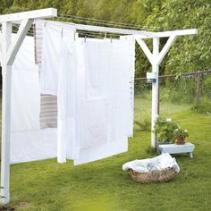 35 creative clothesline to hang your wet clothes on budget 20 - Decor Life Style Pergola Diy, Cedar Pergola, Pergola Canopy, Pergola With Roof, Outdoor Pergola, Outdoor Spaces, Outdoor Living, White Pergola, Modern Pergola