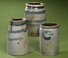 Three Cobalt-Decorated Stoneware Canning Jars, - Cowan's Auctions
