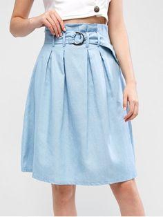 59ba073d05 Belted A Line Paperbag Skirt. [22% OFF] [NEW] 2019 Belted A Line Paperbag  Skirt In JEANS BLUE | ZAFUL ...