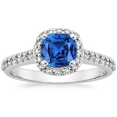 Beautiful!  18K White Gold Sapphire Fancy Halo Diamond Ring
