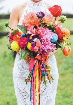 Bold and Vibrant Bridal Bouquet - 33 Artfully Arranged Most Beautiful Bouquet of Flowers in the World - EverAfterGuide