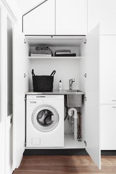 The Laundry — A Cantilever Approach — Kitchen Renovation & Custom Kitchen Designs Laundry In Kitchen, Laundry Cupboard, Laundry Nook, Tiny Laundry Rooms, Laundry Cabinets, Laundry Room Organization, Laundry In Bathroom, Small Laundry Sink, Mini Kitchen
