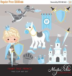Fairy Tale Prince Clipart. Fairy Tale characters, dragon, crown, sword, prince castle, knights, armor, shield horse graphics. Blue gray by MUJKA on Etsy https://www.etsy.com/uk/listing/487419518/fairy-tale-prince-clipart-fairy-tale