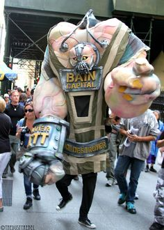"""Awesome giant """"Bain Capital"""" puppet at the Occupy Wall Street 1 year anniversary protest."""
