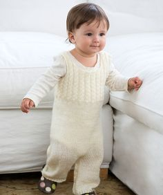 Ravelry: Cabled Baby Overalls pattern by Red Heart Design Team