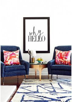 Home and Living Why Hello  Modern Typography Poster von HAUSOFPROSE