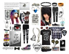 """""""Emo love story"""" by luvdogschasecats ❤ liked on Polyvore featuring Jewel Exclusive, HVBAO, CellPowerCases, Love Quotes Scarves, Bling Jewelry, Charlotte Russe, Glamorous and Converse"""