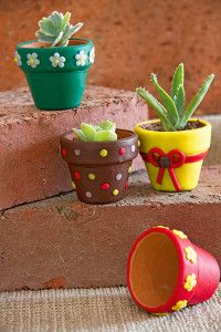 Learn how to create colourfully beautiful clay pots that create a focal point Diy Planters, Planter Pots, Small Succulent Plants, Creative Company, Flower Cookies, Polymer Clay Projects, White Clay, Terracotta Pots, Clay Pots