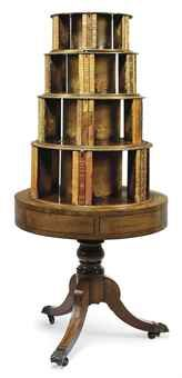Each tier revolves independently, so beautiful. / made of mahogany & rosewood / REGENCY  REVOLVING BOOKCASE C. 1810-15