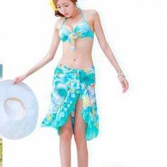 $14.46 Refreshing Floral Printed Three-Piece Suit Boxers Halterneck Push Up Triangle Bra Dress Bikini Set For Women