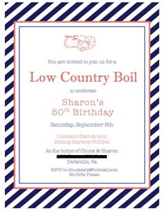 Low Country Boil 50th Birthday Invitation