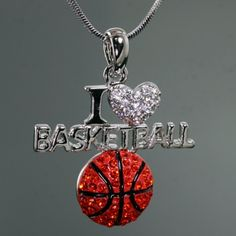 Basketball Mom Jewelry- I Love Basketball Necklace