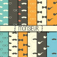 Moustache Patterns ★ Gentleman Printables ★ Instant download ★ Digital Printable ★ Wrapping ★ Digital Paper Pack ★ Set of 12 Papers ★ 12x12 inch size ★ JPG Format ★ High Resolution  This digital paper pack consists of 12 papers.  ★ IDEAL FOR:  Scrapbooking Digital Cards (greeting cards, wedding invites, birthday cards) Printed Paper Products (stationery, cards, tags) Jewelry making Web Design Banners and Avatars Business Products (business cards, stationery, logos) Craft Projects Birthday…