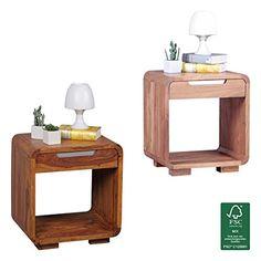FineBuy Design Nachttisch Massivholz Nacht Kommode 50 Cm Mit Schublade  Boxspringbett Nachtkästchen Natur Holz