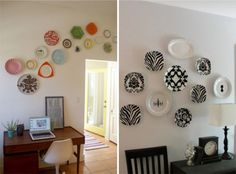 Alguns já devem ter visto, é algo um pouco antigo, mas que fica lindo na cozinha ou sala de jantar, é a decoração com pratos na parede. Pode ser de porcelana e decorado de maneira bem clássica ou até os mais descolados. O que vai deixar a sua decoração bonita é à disposição e cores deles. Inspire-se!!