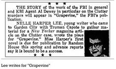 Lost article by Harper Lee rediscovered: Clipping from the Garden City Telegram, in which Harper Lee's friend Dolores Hope alerted readers to a forthcoming article by the To Kill a Mockingbird author Books 2016, New Books, In Cold Blood, Lee Young, Biographer, Harper Lee, To Kill A Mockingbird, Fiction And Nonfiction, Book Writer