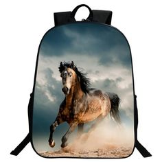 2017 Hot Sale 16-Inch Printing Animal Horse Kids Baby School Bags for Women Backpack for Boy Schoolbag Girls Bookbag Student Bag