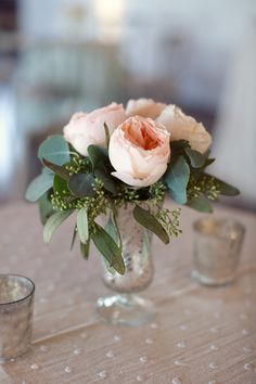 simple centerpiece : soft pink + green
