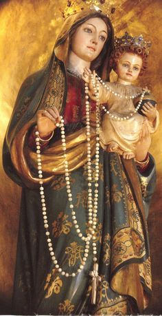 Virgin Mary and child Jesus. Madonna of the Rosary in Rome. Blessed Mother Mary, Divine Mother, Blessed Virgin Mary, Religious Pictures, Religious Icons, Religious Art, Image Jesus, Immaculée Conception, Queen Of Heaven