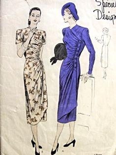 1940s Gorgeous Film Noir Dress Pattern Vogue Special Design 4781 Vintage Sewing Pattern Unique Side Wrap Dress Striking Style Bust 34