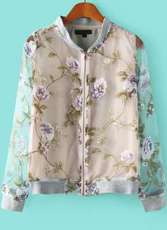 Grey Stand Collar Long Sleeve Purple Floral Organza Jacket - Sheinside.com