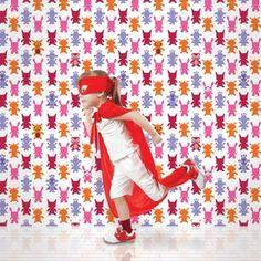 French Bull Monster Magenta Removable Wallpaper Half Kit by WallCandy Arts Kids Wallpaper, Vinyl Wallpaper, Peel And Stick Wallpaper, Hero Wallpaper, Baby Decor, Kids Decor, Happy Kids, Wall Sticker, Magenta
